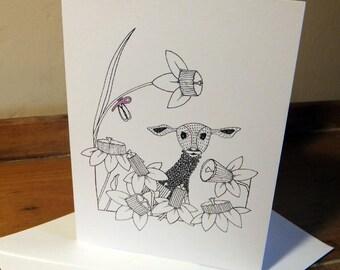 Little Lamb Greeting Card from an original art Illustration ART026