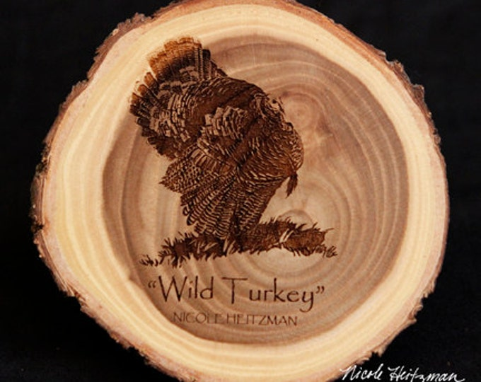 Father's Day Gift Turkey Art Turkey Coaster Wood Art Gift for men Lodge decor Cabin Decor Man Cave Decor Wood Coasters by Nicole Heitzman