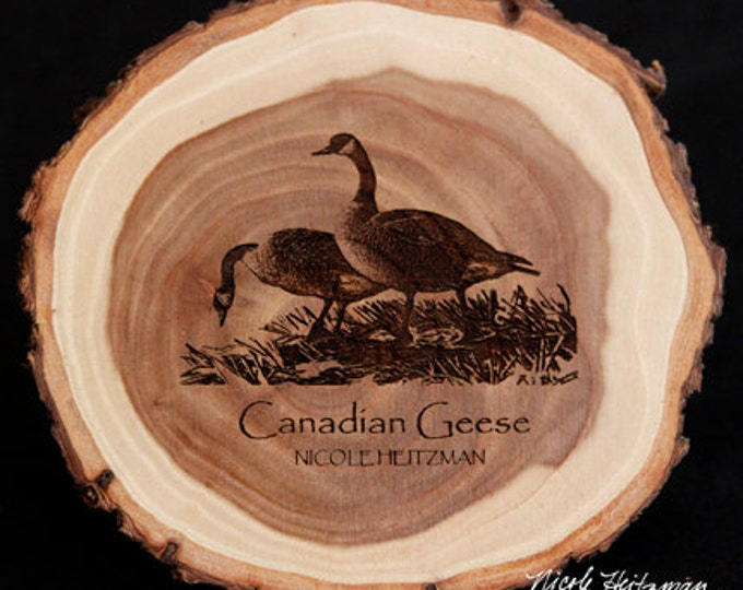 Father's Day Gift Canada Geese Art Goose Coaster Wood Art gift for men Lodge decor Cabin Art Man Cave Decor Wood Coasters by Nicole Heitzman