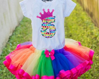 Rainbow Birthday Number Crown Tutu Outfit