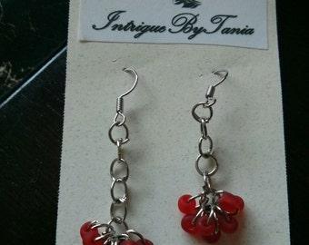 drop ring red dangle earrings