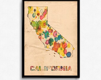 California Map Poster Watercolor Print - Fine Art Digital Painting, Multiple Sizes - 12x18 to 24x36 - Vintage Paper Colors Style