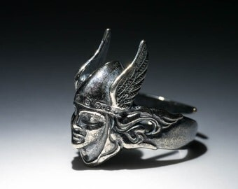 Valkyrie Ring, silver-plated brass, adjustable size, handmade