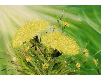 """Картина маслом 60х80 см, """"Path to light"""", Холст, Масло, Исцеляющие картины, Цветы, Жёлтый"""