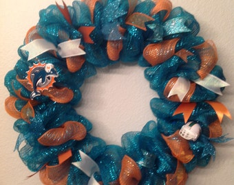 Nfl Miami Dolphins Wreath Deco Mesh Door Decoration Handmade - Most teams available.