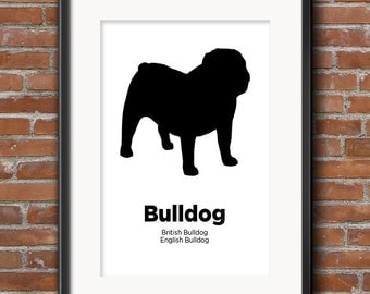 Bulldog Poster, Bulldog Print, Dog Lover Art, Gift for Bulldog Lover, Bulldog Wall Art, British Bulldog English BullDog - 0344