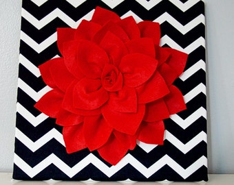 Red Flower - Felt Flower Canvas - Wall Decor - Black & White Chevron fabric - Red Dahlia Flower - Wall Art Canvas - 12 x12