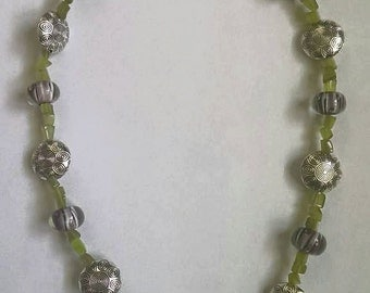 Rose lampwork glass beaded necklace