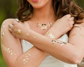 Wundertats Folk H'Art Collection - 3 sheets of jewellery-inspired metallic tattoo in an elegant gift envelope