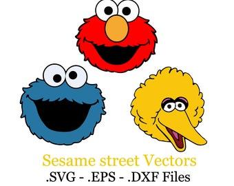 Big Bird - Cookie monster - Elmo. Sesame street Set vector files. .EPS, .SVG, .DXF.