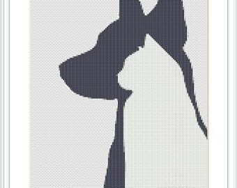 Dog and cat in silhouette cross stitch pattern. Modern. Animals.