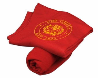 Chi Omega Red Sweatshirt Blanket - Light Gold Print