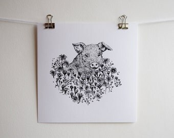 Pig and Flowers Illustration, Square Black and White Screen Print