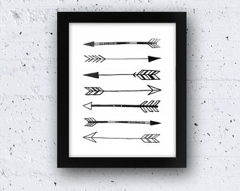 Watercolour Arrows 5 x 7 or 8 x 10 PHYSICAL Art Tribal Poster Wall Print Black and White Clean Simple Modern Minimalist Delivered