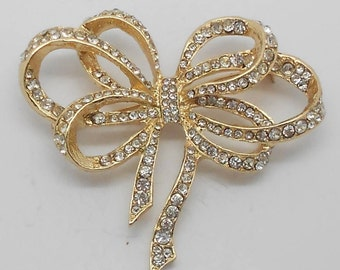 Large Vintage Rhinestone Bow Ribbon Brooch
