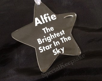 Personalised Acrylic Star Decoration Christmas Gift Keepsake Memorial