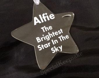 Personalised Acrylic Star Decoration Christmas Gift Keepsake Memorial
