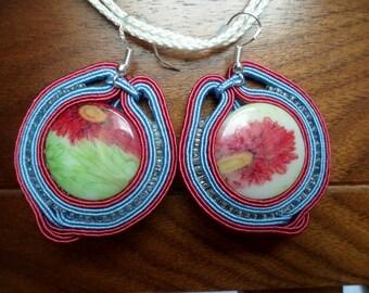 Colourful  Soutache pendant and earrings