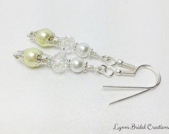 Lemon Pearl Earrings White Pearl Earrings Crystal Earrings Bridesmaid Gift Bridesmaid Jewelry Lemon Earrings Wedding Set Crystal Jewelry
