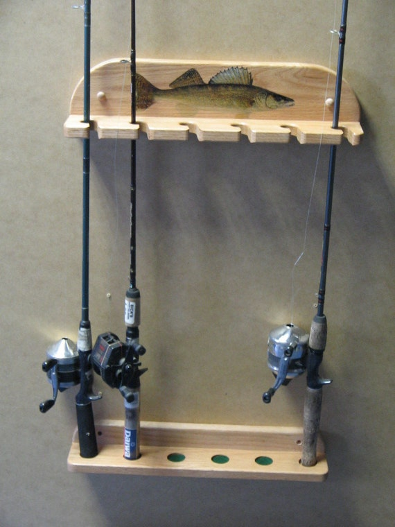 Mini 3 pole wall mount fishing pole rack for Wall mount fishing pole holder