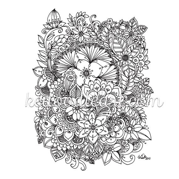 instant digital download adult coloring page flower