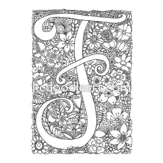 Instant digital download adult coloring page letter f with for Letter f coloring page