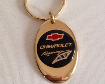 Chevrolet Racing Keychain Solid Brass Gold Plated Chevy Racing Key Chain Personalized Free
