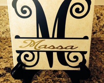 Fleur de lis or monogram tile w/ last name - engagement/ wedding gift