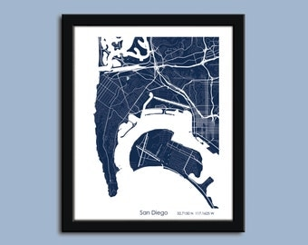 San Diego map, San Diego city map art, San Diego wall art poster, San Diego decorative map