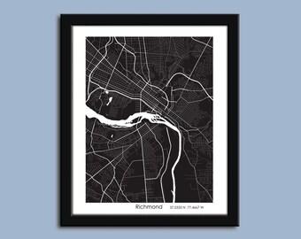 Richmond map, Richmond city map art, Richmond wall art poster, Richmond decorative map