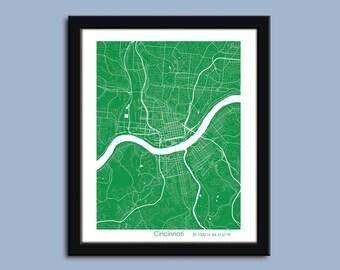 Cincinnati map, Cincinnati map art, Cincinnati wall art poster, Cincinnati decorative map