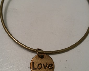 Bronze Love charm bracelet