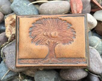 Vintage Embossed Leather Lid Wood Jewelry Box