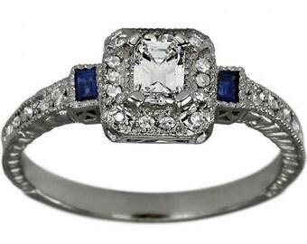 Emerald Cut Diamond Art Deco Ring Diamond Engagement Ring Diamonds W/ Sapphires