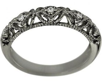Vintage Wedding Band Filigree Ring Anniversary Rings With Diamonds In 14K Gold