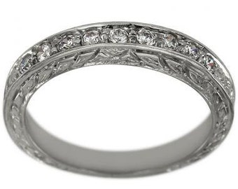 Art Deco 14K White Gold Diamond Engagement Band With Antique Engraving