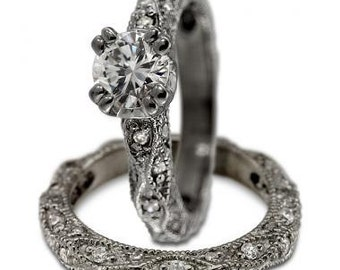 Diamond Engagement Ring In White Gold With A Victorian Ring Design And Milgrain