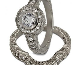 Diamond Bridal Set In White Gold With A Halo Engagement Ring Design And Milgrain