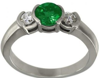 Emerald Engagement Ring With Bezel Set Emerald And Diamonds In 14K White Gold