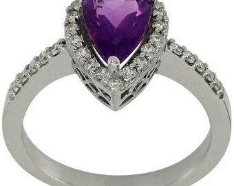 Amethyst Ring In 14k White Gold Featuring Diamond Accents And An Ornate Gallery