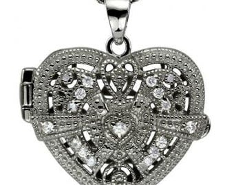 Vintage Style Diamond Heart Locket With Pave Diamonds