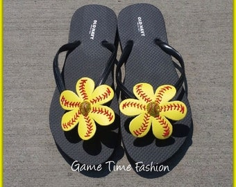 Softball Flip Flops with Rhinestone Centers  Flip Flops INCLUDED!  Adult and Child Sizes Available