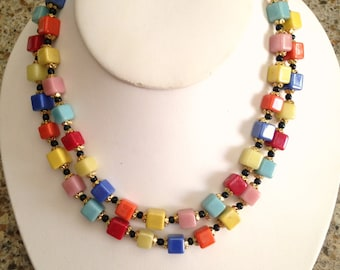 Vintage multicolored square, glass beaded necklace.