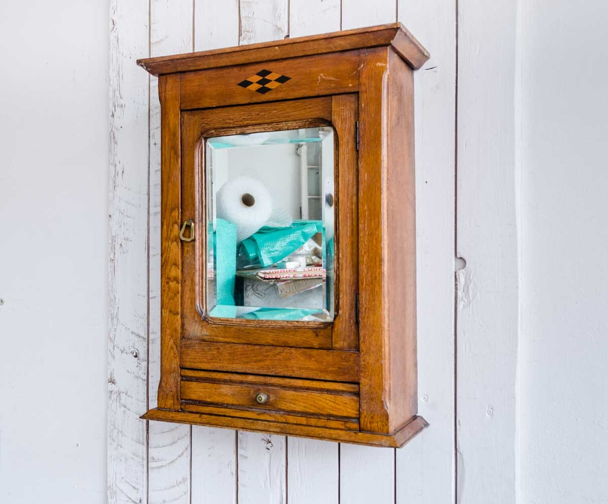 Art nouveau wood mirror cabinet early 20thc cabinet vintage for Bathroom mirror cupboard
