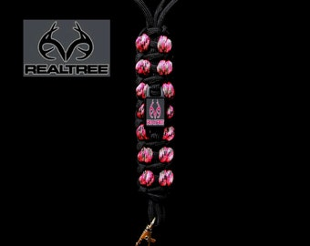 REALTREE ~ Accessory Neck Lanyard / Key Chain Lanyard / Vape Necklace / I.D. -Badge Holder ~Color Options~ Hunting Camo Bowhunting Pink Camo