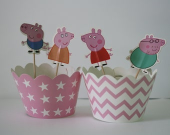 Peppa Pig Toppers with Cupcake Wrappers for Birthday Parties!