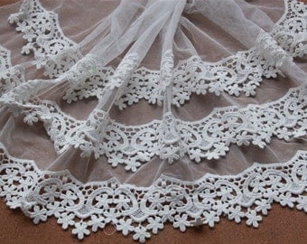 Lacetrim,three layers off-white lace trim,Retro Embroidered Lace Trim,1 yard - LT1012