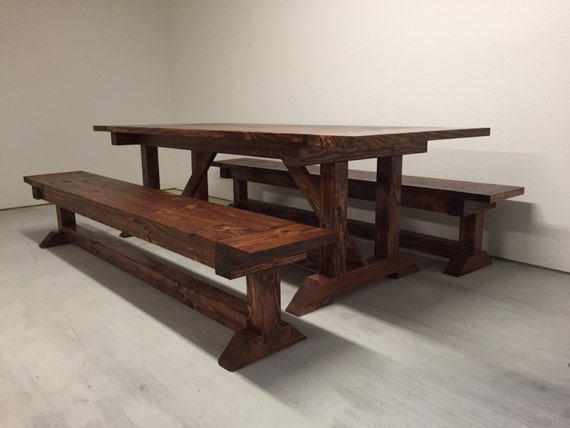 Farmhouse trestle table with breadboards by for Post trestle farm table plans