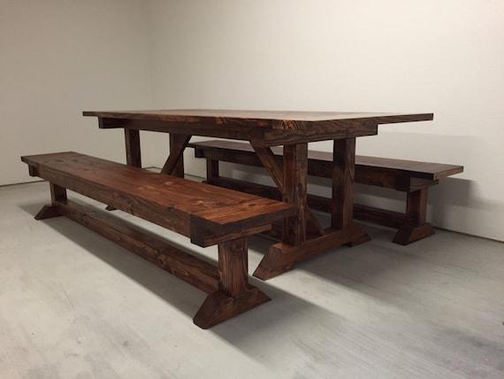 Farmhouse Trestle Table with Breadboards by BohomeFurnishingsLLC