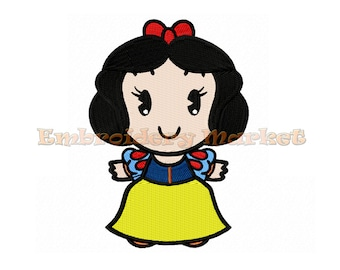 snow white embroidery Design for Embroidery Machines 6 sizes - Instant Download